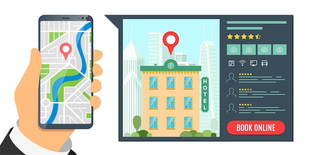 Hotelsuche und online-buchung für urlaubstourismus app konzept travel apartment mobile