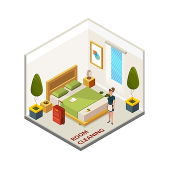 Hotelzimmerreinigung. isometrischer reinigungsservice, zimmermädchen im hotelzimmer