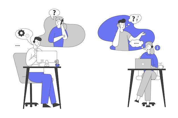 Hotline-service. call center-mitarbeiter im headset-chat