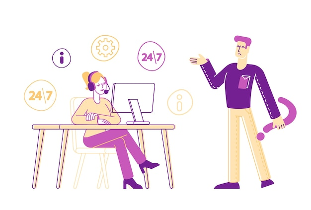 Hotline-service, call center-mitarbeiterin weiblicher charakter im headset chatten mit männlichem kunden