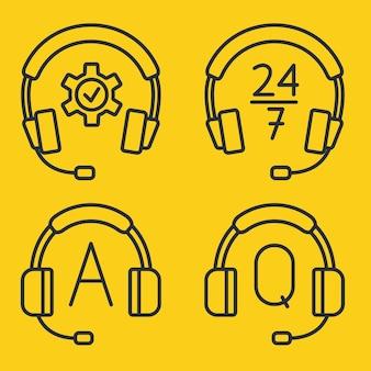 Hotline-support-service mit kopfhörern. konzept der beratung, telemarketing, unterstützung, callcenter, virtueller hilfedienst. schaltflächen für die hilfe- und support-hotline. headset-symbole. bearbeitbarer strich. vektor