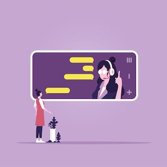 Hotline telefonistin auf dem mobilen bildschirm persönlicher assistenzdienst und hilfreiche beratungsdienste