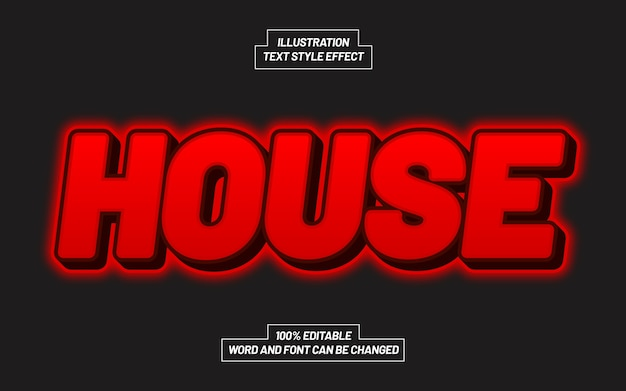 House red text style effekt