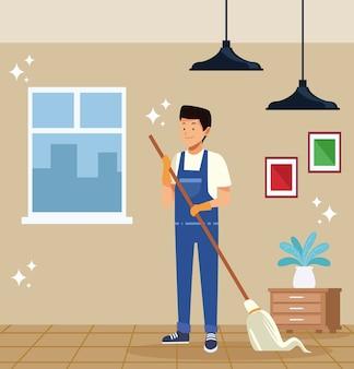 Housekeeping männlicher arbeiter mit moppwerkzeug