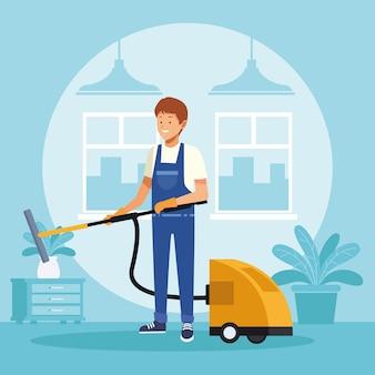 Housekeeping männlicher arbeiter mit staubsauger