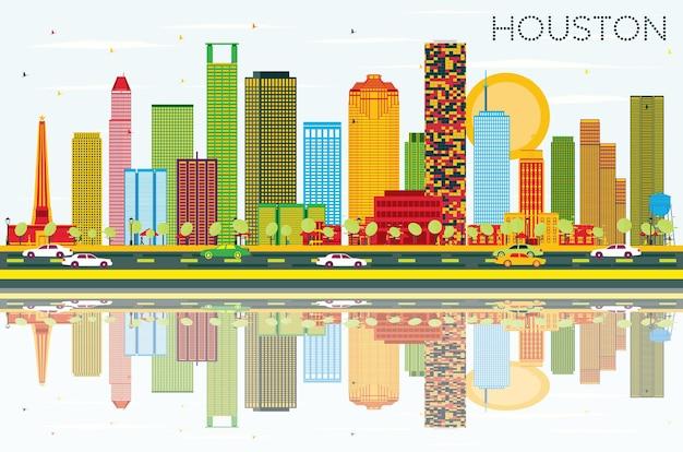 Houston skyline mit farbgebäuden, blauem himmel und reflexionen. vektor-illustration. geschäftsreise- und tourismuskonzept mit modernen gebäuden. bild für präsentationsbanner-plakat und website.