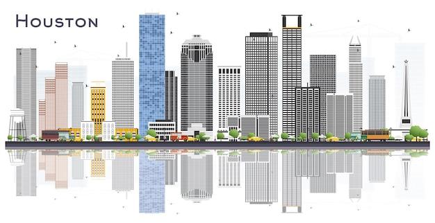 Houston usa city skyline mit farbe gebäude und reflexionen, isolated on white. vektor-illustration. geschäfts- und tourismuskonzept mit historischer architektur. stadtbild von houston texas mit sehenswürdigkeiten.