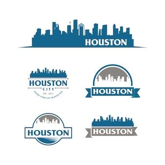 Houston usa skyline logo stadtbild und wahrzeichen silhouette vector illustration