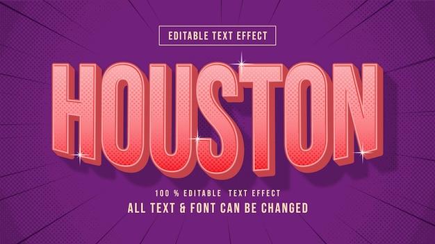 Houston vintage retro 3d-textstil-effekt bearbeitbarer illustrator-textstil