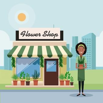 Hower shop und geschäftsfrau