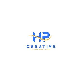 Hp brief mit swoosh-vektor-logo-design