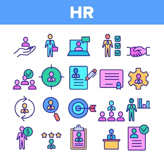 Hr human resources icons set