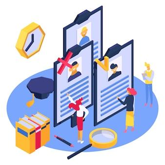 Hr isometru mitarbeiterarbeit, illustration. isometrische einstellung für das jobteam, unternehmensbeschäftigung und personalrekrutierung.