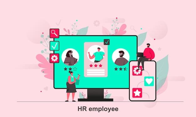 Hr-mitarbeiter-webdesign im flachen stil mit winzigen personenzeichen