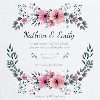 Hübsche Hochzeitseinladung mit einem Blumenrahmen