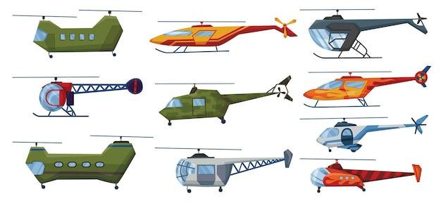Hubschrauber cartoon aviation set