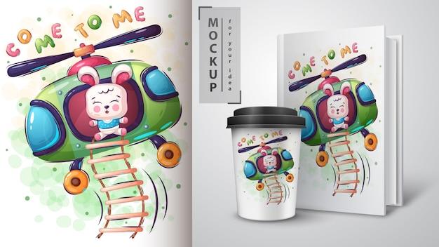 Hubschrauber fliegen illustration und merchandising