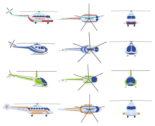 Hubschrauber flugzeuge. avia transport, städtischer, privater und medizinischer rettungshubschrauber.