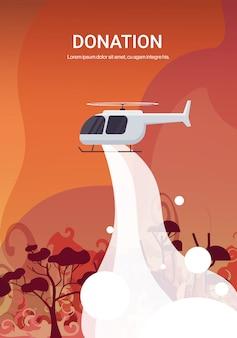 Hubschrauber löscht gefährliches verheerendes feuer in australien, das buschfeuer trockene wälder brennt bäume brennt, die naturkatastrophenspendekonzept intensive orange flammenillustration bekämpfen
