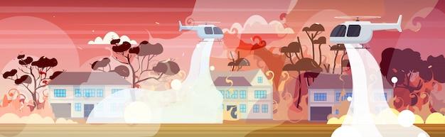 Hubschrauber löscht gefährliches verheerendes feuer in australien im kampf gegen buschfeuer, trockene wälder, brennende bäume und häuser zur brandbekämpfung naturkatastrophenkonzept intensive orange flammen horizontal