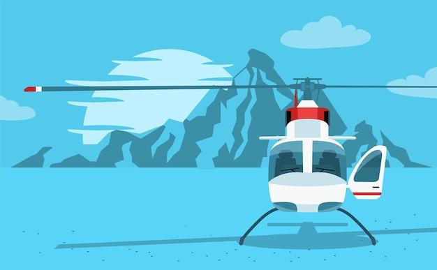 Hubschrauber mit berglandschaft. vorderansicht.