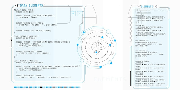 Hud-elemente, die aus schnittstellenfenstern mit einem teil des codes bestehen.
