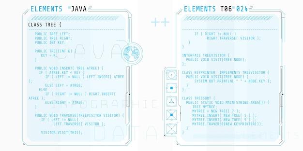 Hud-elemente, die aus schnittstellenfenstern mit einem teil des java-codes bestehen.