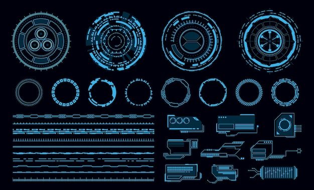 Hud elemente futuristische blaue virtuelle berührung benutzeroberfläche illustration