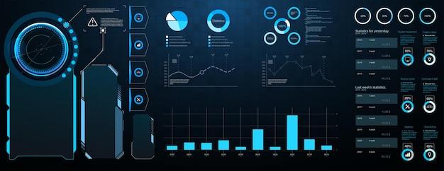 Hud elemente mega set pack. dashboard-anzeige bildschirm für virtual-reality-technologie. abstraktes hud ui gui zukünftiges futuristisches bildschirmsystem virtuelles design