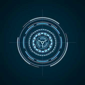 Hud futuristisches element lokalisiert auf dunklem hintergrund. hi-tech-benutzeroberfläche. abstraktes virtuelles ziel
