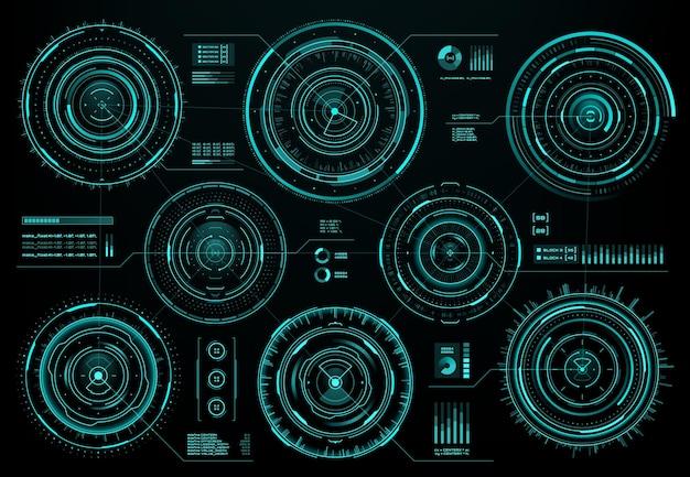 Hud futuristisches kreisförmiges interface-bildschirmfenster, sci-fi-web-interface und business-infografik-visualdaten, vektor. kreisförmige hud-benutzeroberflächenelemente mit digitalen grafiken und diagrammdiagrammen auf dem infobildschirm
