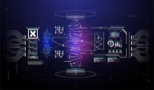 Hud-infografik-elemente mit dna-struktur. futuristische benutzeroberfläche