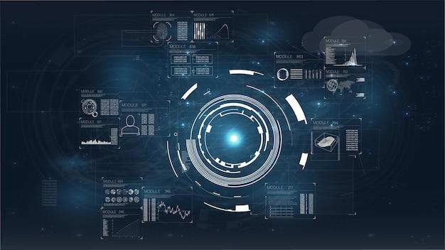 Hud. infografikschablone des modernen designs. moderner flachbildschirm-computermonitor.