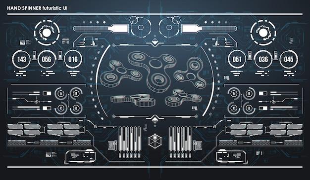 Hud infographik elemente mit handspinner. futuristische benutzeroberfläche. abstrakte virtuelle grafik.