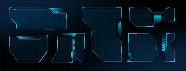 Hud interface screen design frame. hud ui gui futuristischer benutzeroberflächenbildschirm. sci-fi-vektordesign
