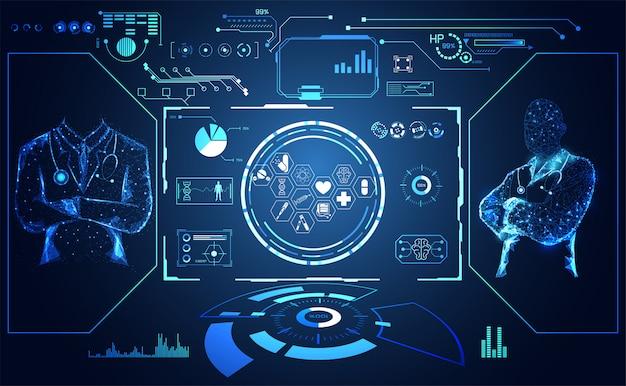 Hud interface ui futuristischer konzept arzt