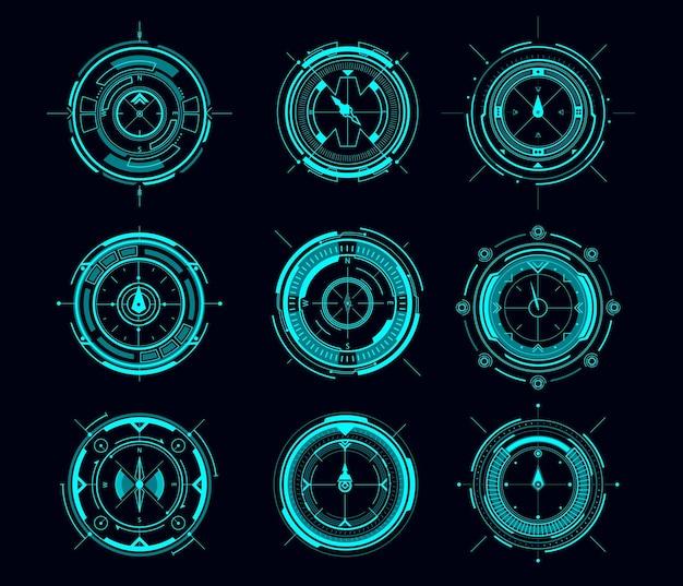 Hud-kompass oder zielkontrollfeld vektor futuristische benutzeroberfläche von sci fi. hud-spielnavigationskompass und militärisches zielsystem, scharfschützenwaffenziel, fadenkreuz, kollimatorvisier, schießstand coll