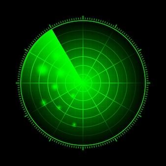 Hud-radar mit zielen in aktion. militärisches suchsystem, vektorillustration