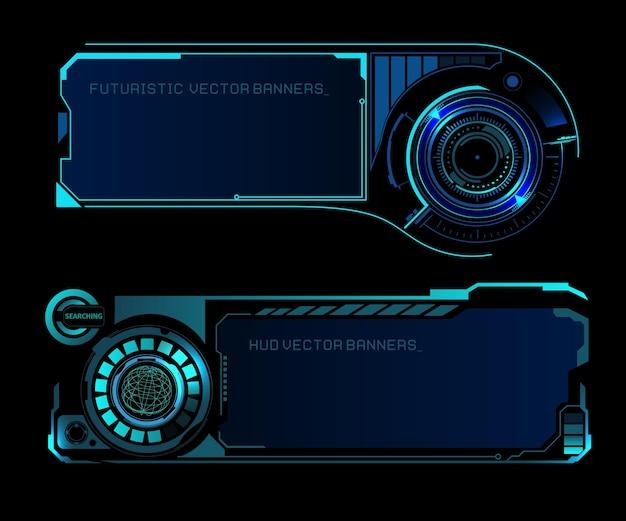 Hud-schnittstelle futuristische banner mit weltkartenposition