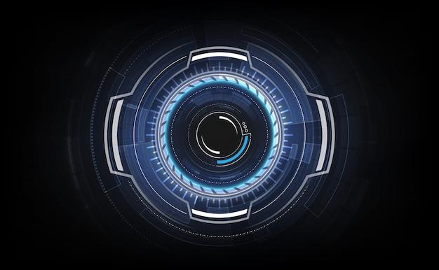 Hud-schnittstelle gui futuristische technologie-vernetzungskonzeptschablone