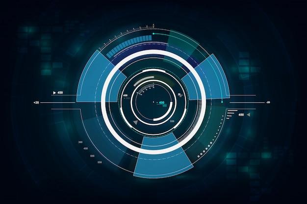 Hud-schnittstelle gui futuristisches technologievernetzungskonzept