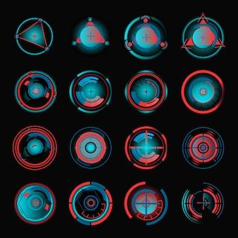 Hud-schnittstelle radialer diagrammvorlagensatz. ui-design-visualisierungselement