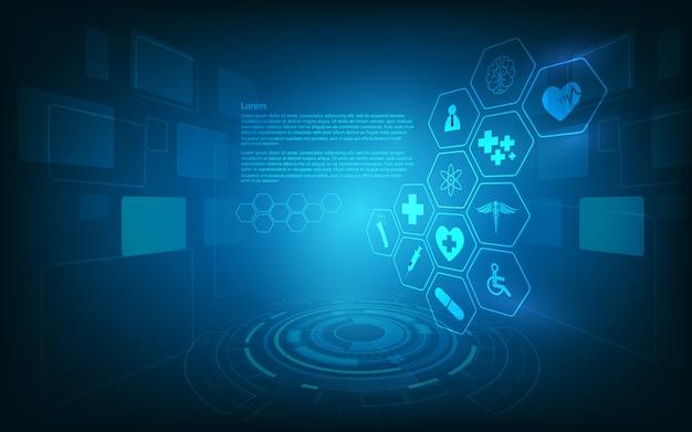 Hud-schnittstelle virtueller hologrammzukünftiger systemgesundheitswesen-innovationshintergrund