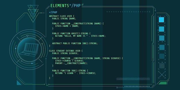 Hud-schnittstellenelemente mit einem teil des codes php.