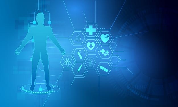 Hud-schnittstellenvirtueller hologrammzukünftiger systemgesundheitswesen-innovationshintergrund