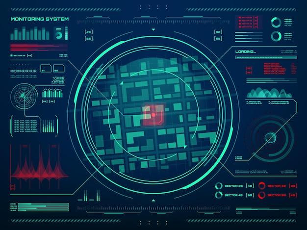 Hud-sicherheitsüberwachungssystemtechnologie. geheimdienst-, polizei- oder armeekontrollzentrumsbildschirm mit zielbewegungssensor-datenverfolgungsschnittstelle, radarbildschirm, neonkarte und informationskarten