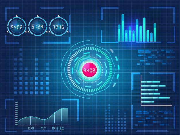 Hud ui für business-app, futuristische benutzeroberfläche hud und infografik-elemente auf blauem gitter hintergrund.