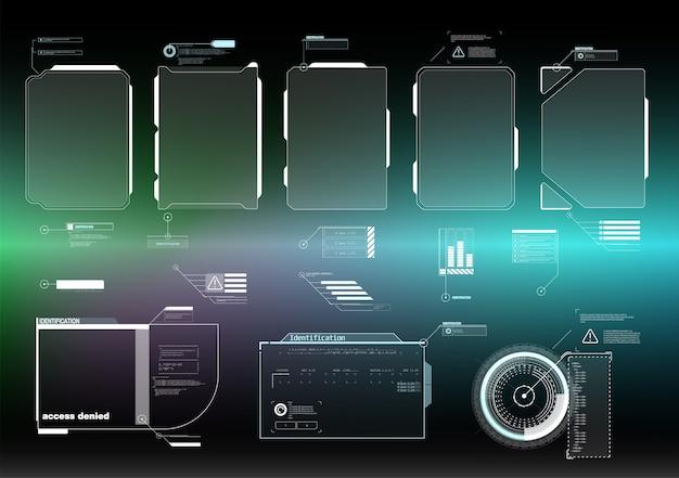 Hud ui gui futuristische benutzeroberfläche bildschirmelemente gesetzt. hightech-bildschirm für videospiele. sci-fi-konzept.