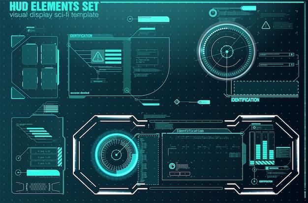 Hud ui gui futuristische benutzeroberfläche bildschirmelemente gesetzt. hightech-bildschirm für videospiele.