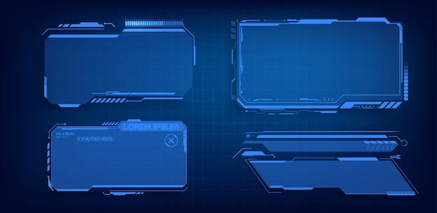 Hud, ui, gui futuristische frame-benutzeroberfläche bildschirmelemente eingestellt. mit callout-kommunikation einstellen. abstraktes layout des bedienfelds. blue virtual hi scifi
